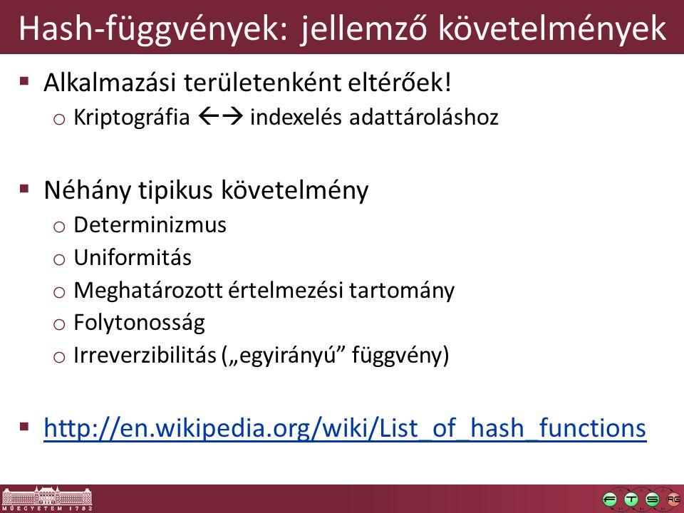 Hash-függvények: jellemző követelmények  Alkalmazási területenként eltérőek.