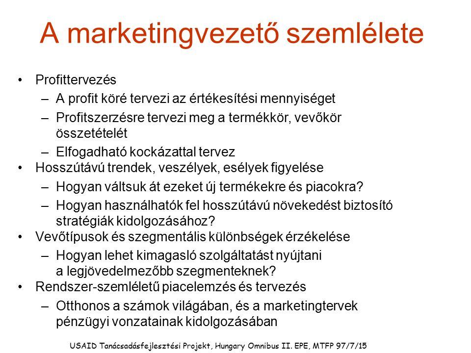 A marketingvezető szemlélete Profittervezés –A profit köré tervezi az értékesítési mennyiséget –Profitszerzésre tervezi meg a termékkör, vevőkör össze