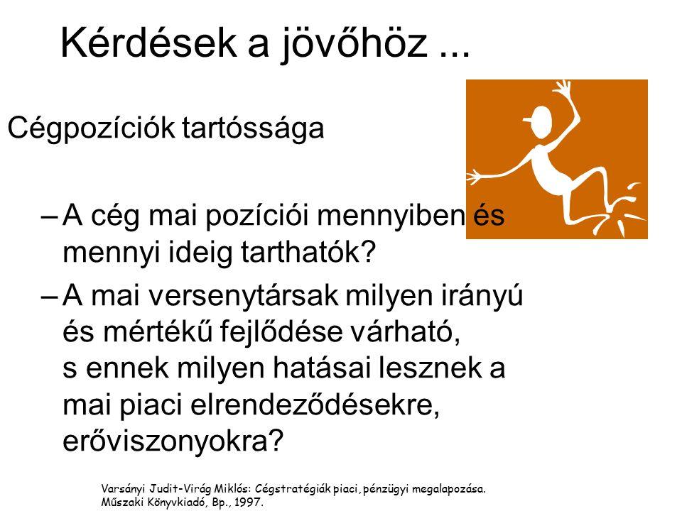 Varsányi Judit-Virág Miklós: Cégstratégiák piaci, pénzügyi megalapozása. Műszaki Könyvkiadó, Bp., 1997. Kérdések a jövőhöz... Cégpozíciók tartóssága –