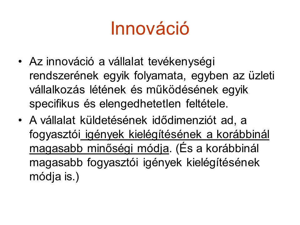 Innováció Az innováció a vállalat tevékenységi rendszerének egyik folyamata, egyben az üzleti vállalkozás létének és működésének egyik specifikus és e