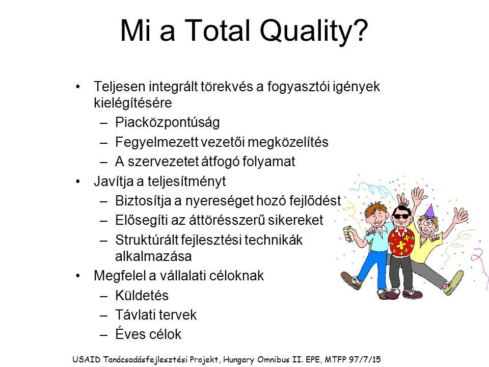 Mi a Total Quality? Teljesen integrált törekvés a fogyasztói igények kielégítésére –Piacközpontúság –Fegyelmezett vezetői megközelítés –A szervezetet