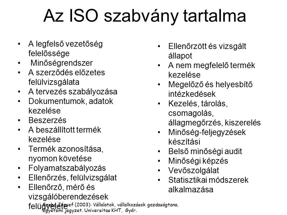 Az ISO szabvány tartalma A legfelső vezetőség felelőssége Minőségrendszer A szerződés előzetes felülvizsgálata A tervezés szabályozása Dokumentumok, a