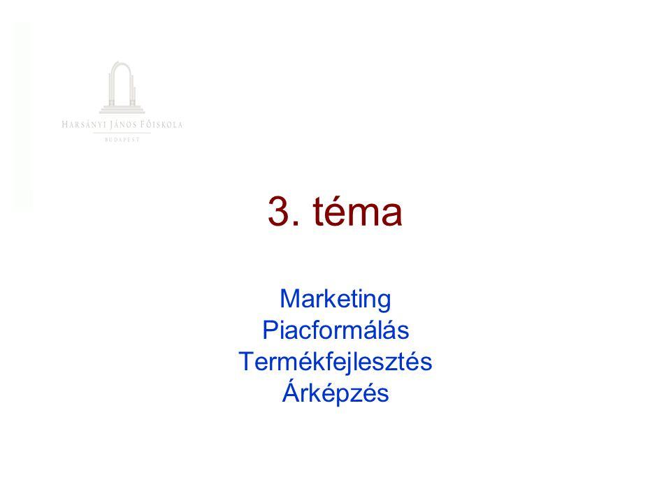 3. téma Marketing Piacformálás Termékfejlesztés Árképzés