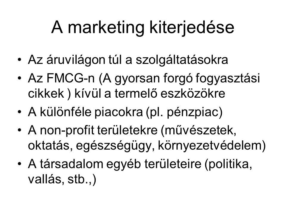 A marketing kiterjedése Az áruvilágon túl a szolgáltatásokra Az FMCG-n (A gyorsan forgó fogyasztási cikkek ) kívül a termelő eszközökre A különféle pi