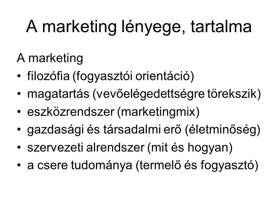 A marketing lényege, tartalma A marketing filozófia (fogyasztói orientáció) magatartás (vevőelégedettségre törekszik) eszközrendszer (marketingmix) ga