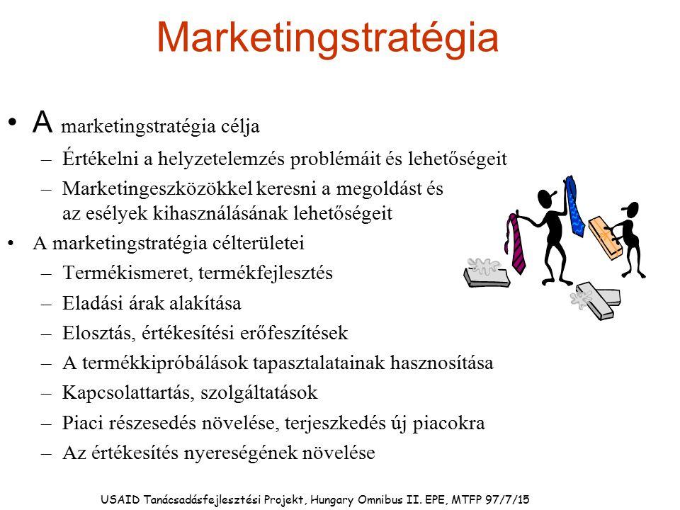 USAID Tanácsadásfejlesztési Projekt, Hungary Omnibus II. EPE, MTFP 97/7/15 Marketingstratégia A marketingstratégia célja –Értékelni a helyzetelemzés p