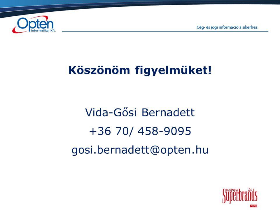 Köszönöm figyelmüket! Vida-Gősi Bernadett +36 70/ 458-9095 gosi.bernadett@opten.hu