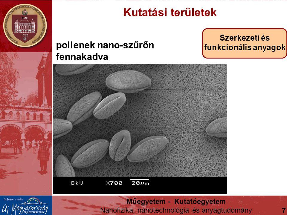 Kutatási területek Szerkezeti és funkcionális anyagok pollenek nano-szűrőn fennakadva Műegyetem - Kutatóegyetem Nanofizika, nanotechnológia és anyagtu