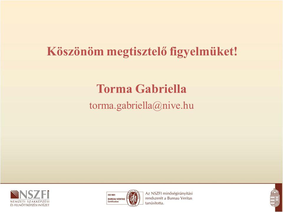 Köszönöm megtisztelő figyelmüket! Torma Gabriella torma.gabriella@nive.hu