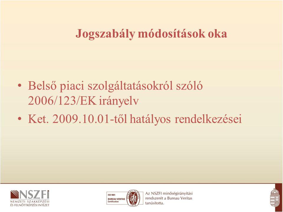 Belső piaci szolgáltatásokról szóló 2006/123/EK irányelv Ket. 2009.10.01-től hatályos rendelkezései Jogszabály módosítások oka