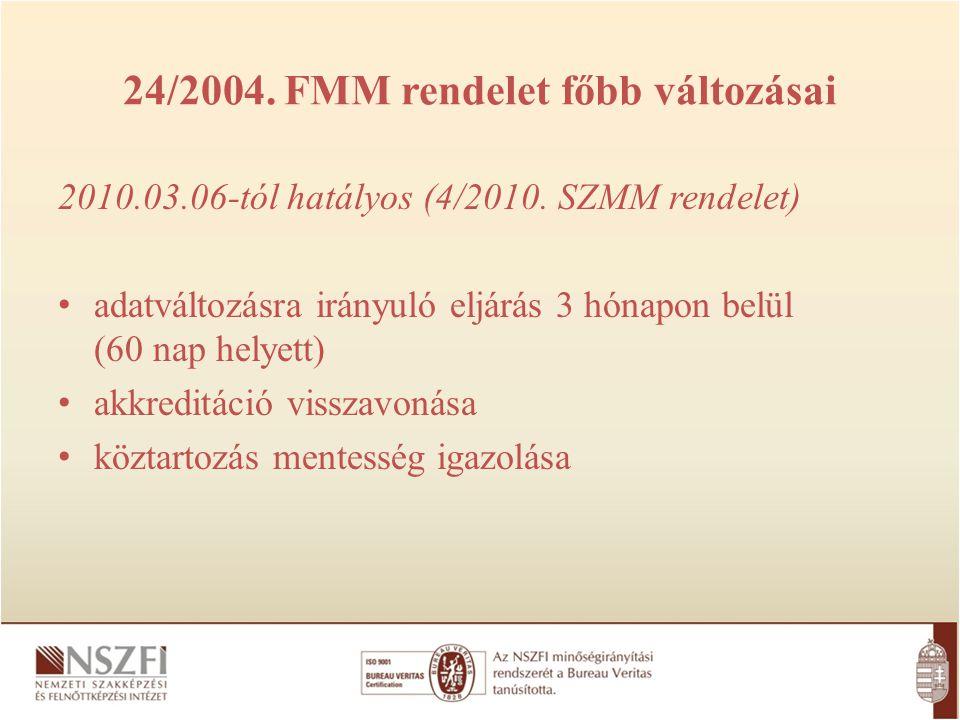 24/2004. FMM rendelet főbb változásai 2010.03.06-tól hatályos (4/2010. SZMM rendelet) adatváltozásra irányuló eljárás 3 hónapon belül (60 nap helyett)