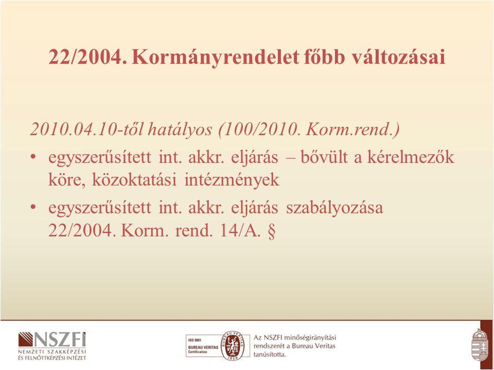 22/2004. Kormányrendelet főbb változásai 2010.04.10-től hatályos (100/2010. Korm.rend.) egyszerűsített int. akkr. eljárás – bővült a kérelmezők köre,