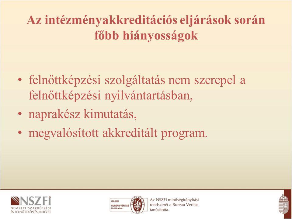 Intézményakkreditációs eljárás feltételeként akkreditált program bemutatása FAT által akkreditált és megvalósított képzési programmal rendelkezik.