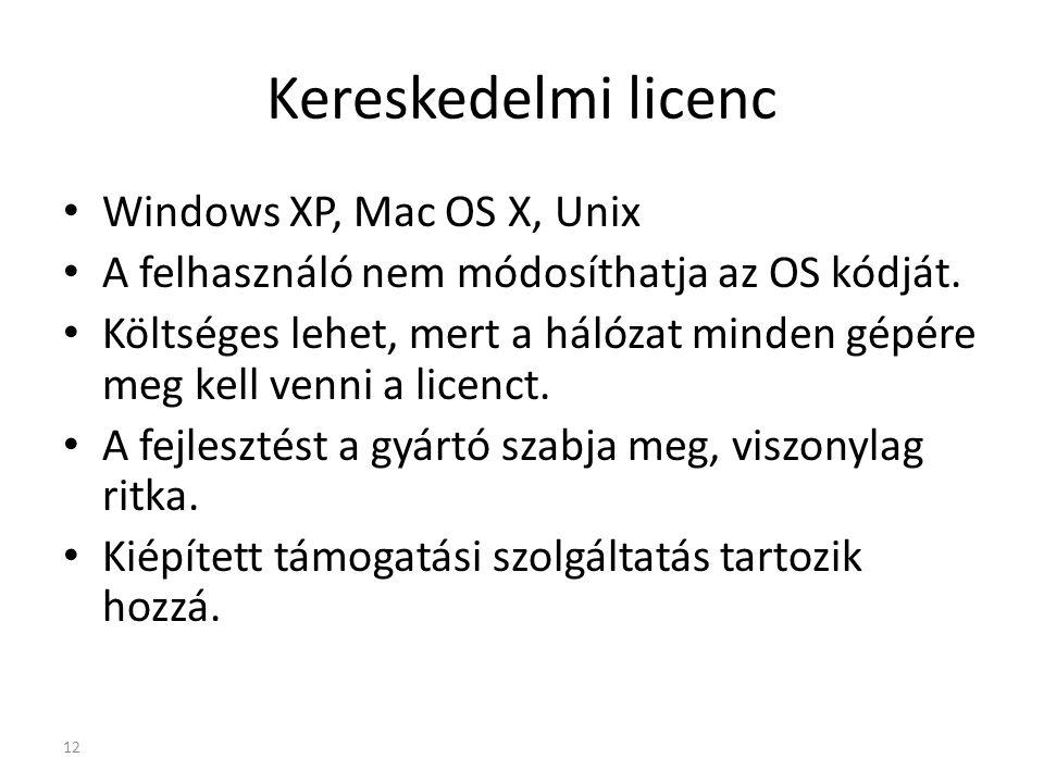 Általános nyilvános licenc (GPL General Public Licence ) Linux, BSD A jobb használhatóság érdekében javítható, változtatható a nyílt forráskód.