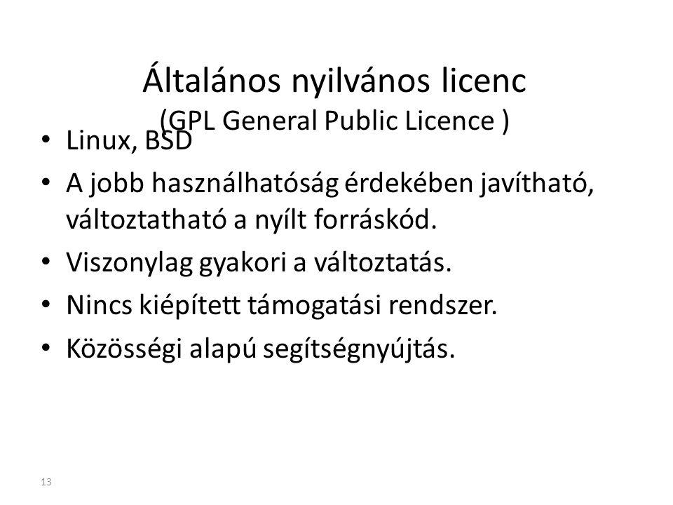 Általános nyilvános licenc (GPL General Public Licence ) Linux, BSD A jobb használhatóság érdekében javítható, változtatható a nyílt forráskód. Viszon