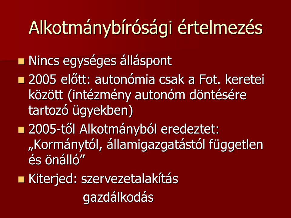 Alkotmánybírósági értelmezés Nincs egységes álláspont Nincs egységes álláspont 2005 előtt: autonómia csak a Fot.