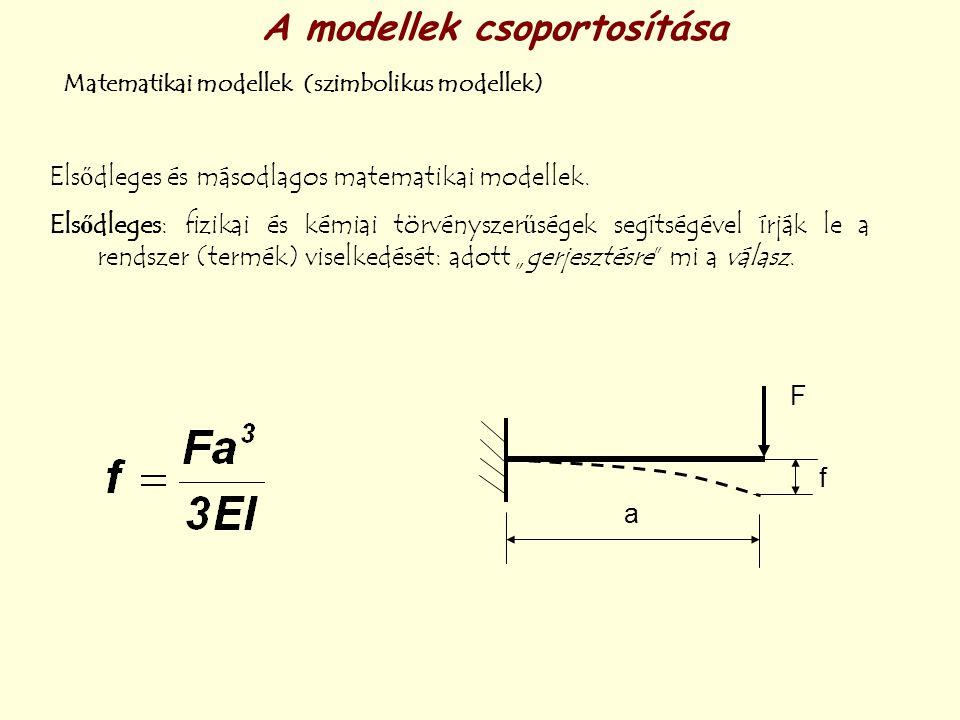 A modellek csoportosítása Matematikai modellek (szimbolikus modellek) Elsődleges és másodlagos matematikai modellek. Elsődleges: fizikai és kémiai tör