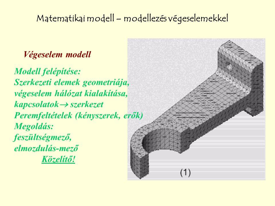 Matematikai modell – modellezés végeselemekkel Végeselem modell Modell felépítése: Szerkezeti elemek geometriája, végeselem hálózat kialakítása, kapcs