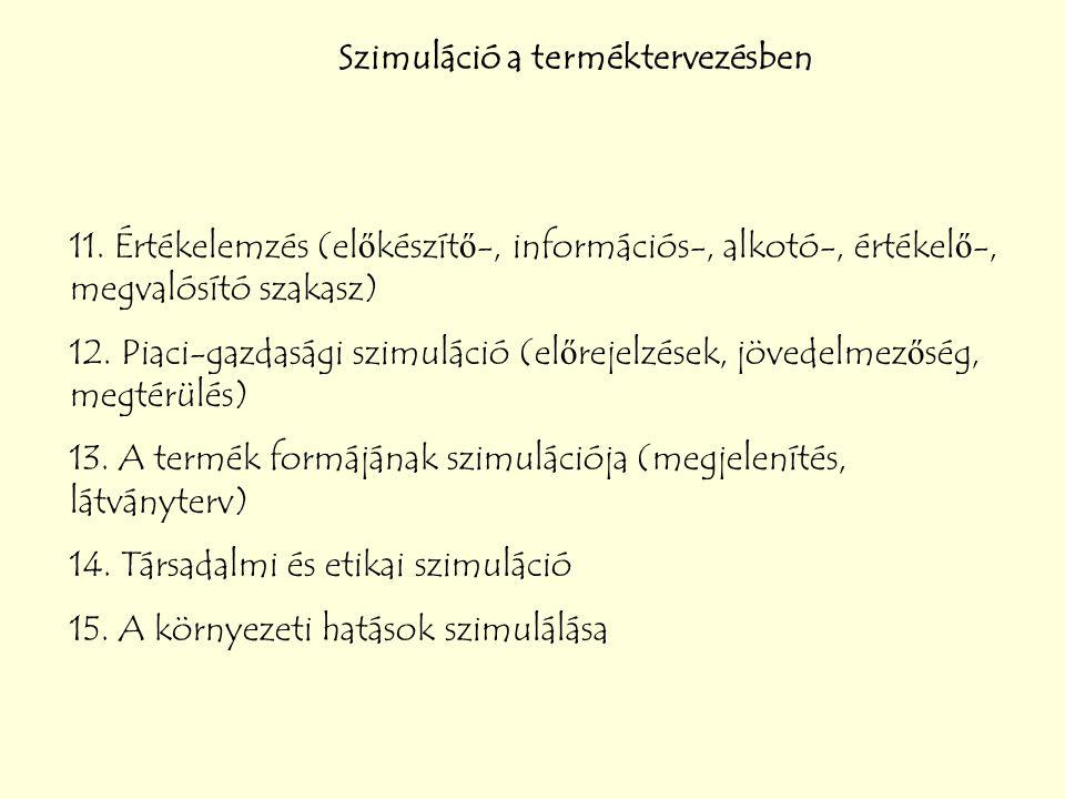 Szimuláció a terméktervezésben 11. Értékelemzés (előkészítő-, információs-, alkotó-, értékelő-, megvalósító szakasz) 12. Piaci-gazdasági szimuláció (e