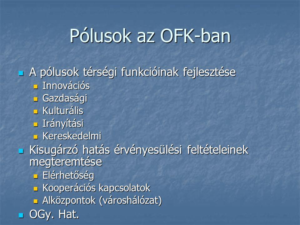 Pólusok az OFK-ban A pólusok térségi funkcióinak fejlesztése A pólusok térségi funkcióinak fejlesztése Innovációs Innovációs Gazdasági Gazdasági Kultu