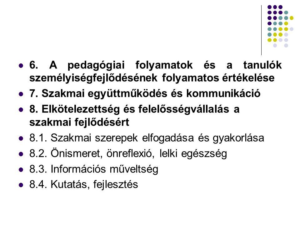 6. A pedagógiai folyamatok és a tanulók személyiségfejlődésének folyamatos értékelése 7. Szakmai együttműködés és kommunikáció 8. Elkötelezettség és f