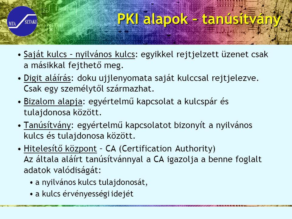 PKI alapok – tanúsítvány Saját kulcs – nyilvános kulcs: egyikkel rejtjelzett üzenet csak a másikkal fejthető meg. Digit aláírás: doku ujjlenyomata saj