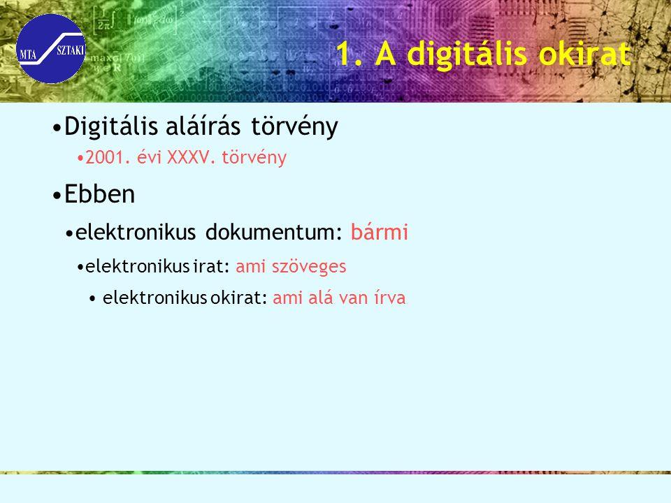 1. A digitális okirat Digitális aláírás törvény 2001. évi XXXV. törvény Ebben elektronikus dokumentum: bármi elektronikus irat: ami szöveges elektroni