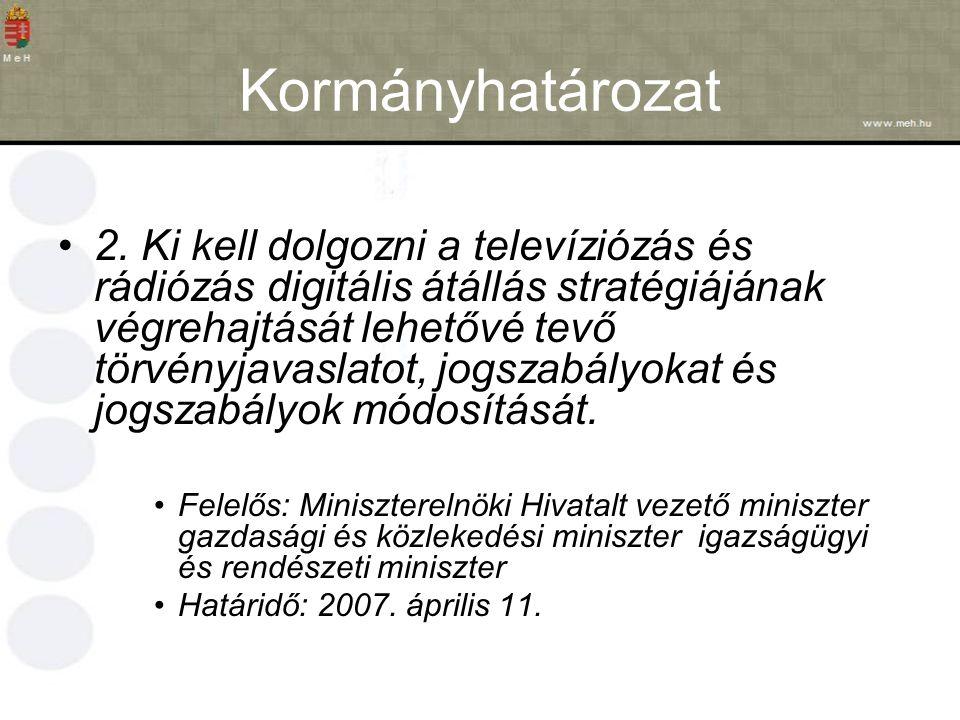 Kormányhatározat 2. Ki kell dolgozni a televíziózás és rádiózás digitális átállás stratégiájának végrehajtását lehetővé tevő törvényjavaslatot, jogsza