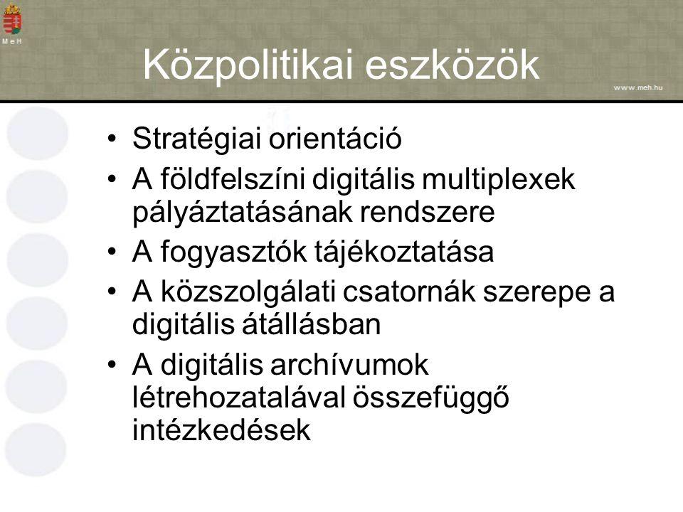 Közpolitikai eszközök Stratégiai orientáció A földfelszíni digitális multiplexek pályáztatásának rendszere A fogyasztók tájékoztatása A közszolgálati