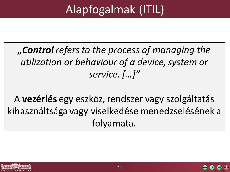 "11 Alapfogalmak (ITIL) ""Control refers to the process of managing the utilization or behaviour of a device, system or service."