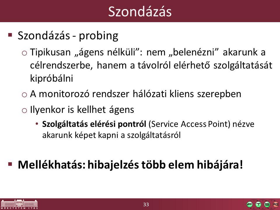"""33 Szondázás  Szondázás - probing o Tipikusan """"ágens nélküli"""": nem """"belenézni"""" akarunk a célrendszerbe, hanem a távolról elérhető szolgáltatását kipr"""