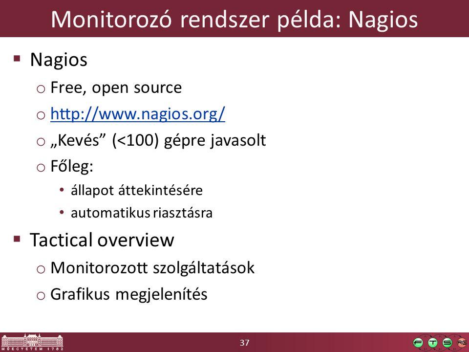 "37 Monitorozó rendszer példa: Nagios  Nagios o Free, open source o http://www.nagios.org/ http://www.nagios.org/ o ""Kevés"" (<100) gépre javasolt o Fő"