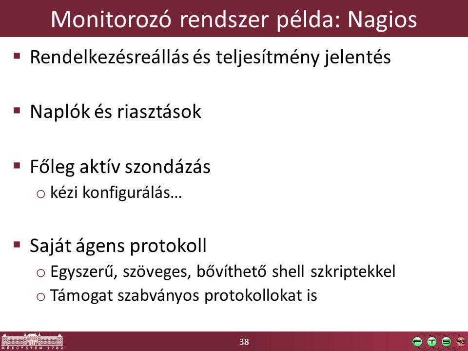 38 Monitorozó rendszer példa: Nagios  Rendelkezésreállás és teljesítmény jelentés  Naplók és riasztások  Főleg aktív szondázás o kézi konfigurálás…