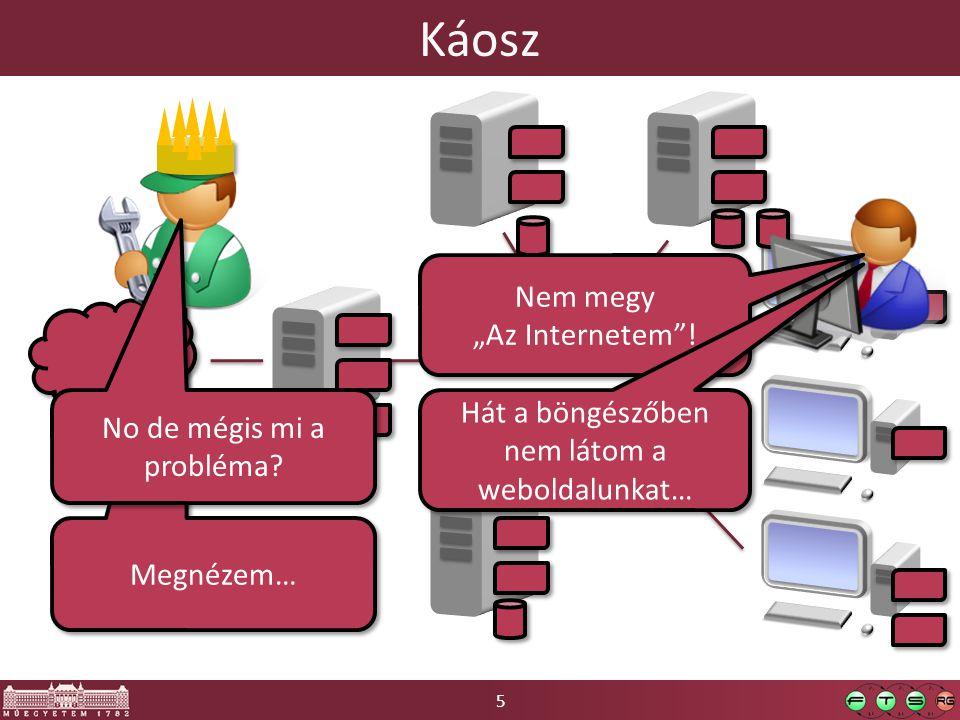 46 Diagnosztika  Hibaok-detektálás (fault detection): van-e hibahatást (failure) okozó jelenség a rendszerben  Hibaok-lokalizáció (fault localization): a hibahatást kiváltó pontos hibaokok meghatározása  Szondázás: olyan teszttranzakció, melynek kimenetele több komponens állapotától is függhet o Gondoljuk végig: VM-ben futó Apache-re wget távolról  I.