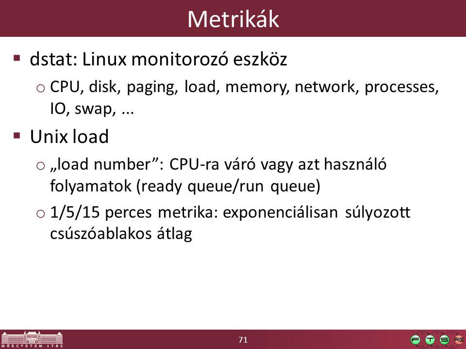 "71 Metrikák  dstat: Linux monitorozó eszköz o CPU, disk, paging, load, memory, network, processes, IO, swap,...  Unix load o ""load number"": CPU-ra v"