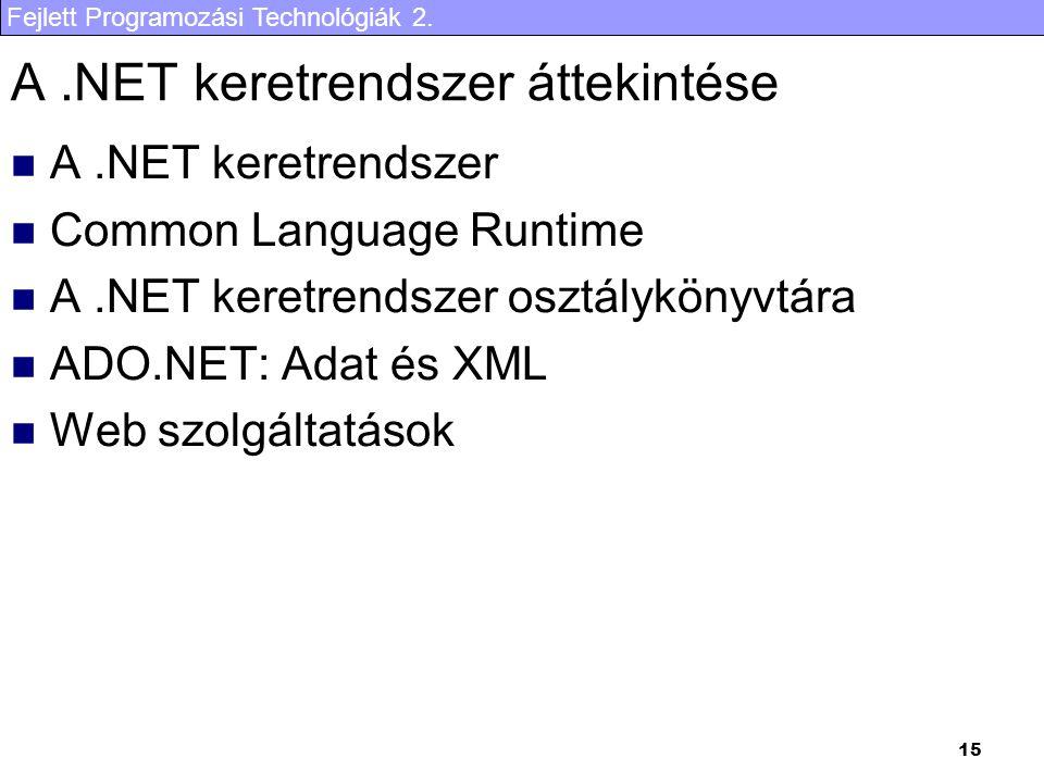 Fejlett Programozási Technológiák 2. 15 A.NET keretrendszer áttekintése A.NET keretrendszer Common Language Runtime A.NET keretrendszer osztálykönyvtá