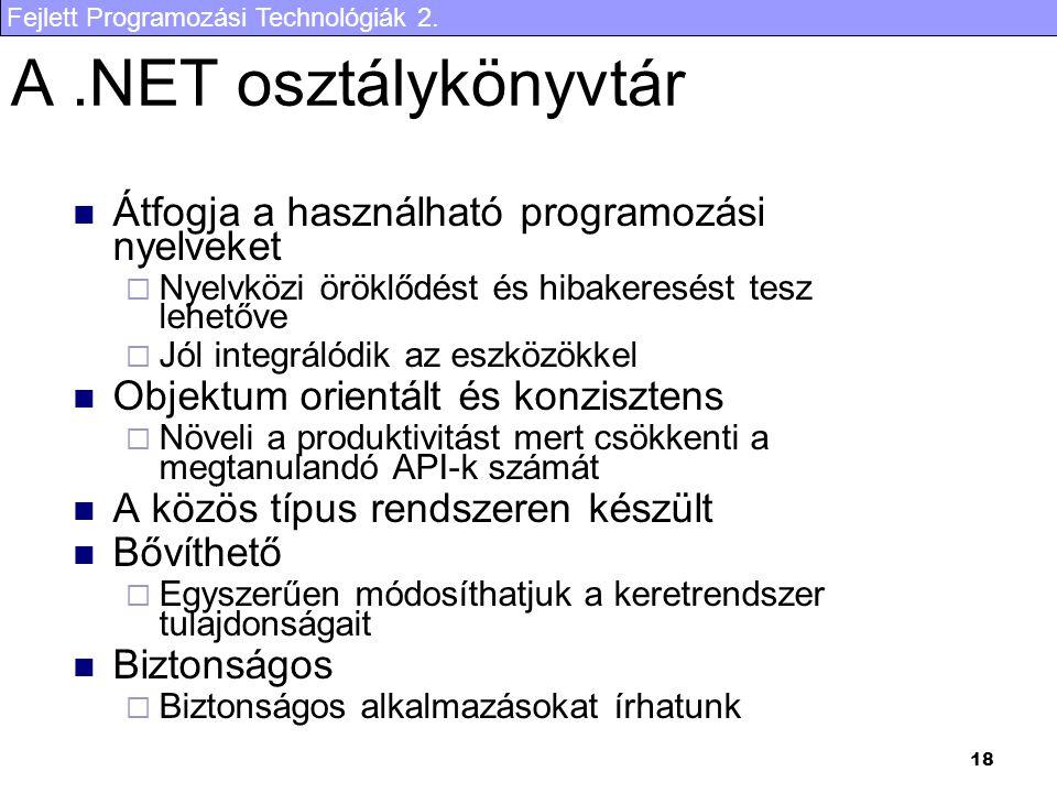 Fejlett Programozási Technológiák 2. 18 A.NET osztálykönyvtár Átfogja a használható programozási nyelveket  Nyelvközi öröklődést és hibakeresést tesz