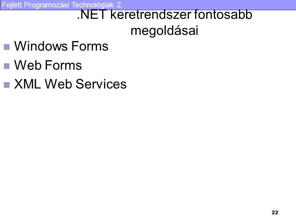 Fejlett Programozási Technológiák 2. 22.NET keretrendszer fontosabb megoldásai Windows Forms Web Forms XML Web Services