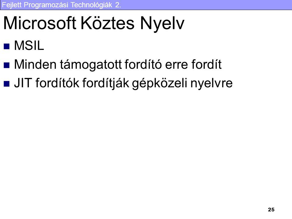 Fejlett Programozási Technológiák 2. 25 Microsoft Köztes Nyelv MSIL Minden támogatott fordító erre fordít JIT fordítók fordítják gépközeli nyelvre