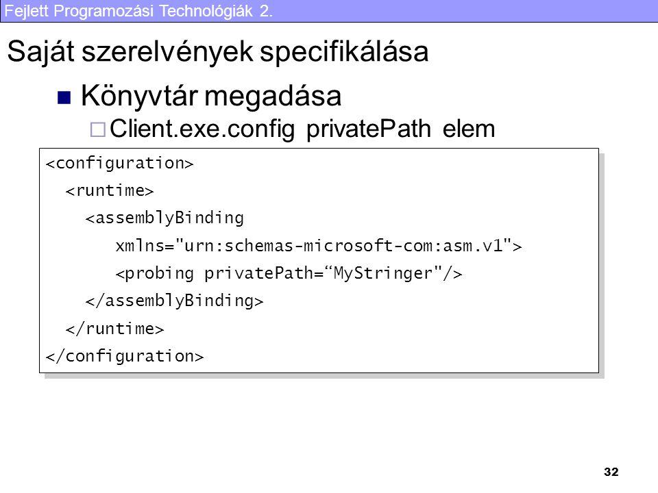 Fejlett Programozási Technológiák 2. 32 Saját szerelvények specifikálása Könyvtár megadása  Client.exe.config privatePath elem <assemblyBinding xmlns