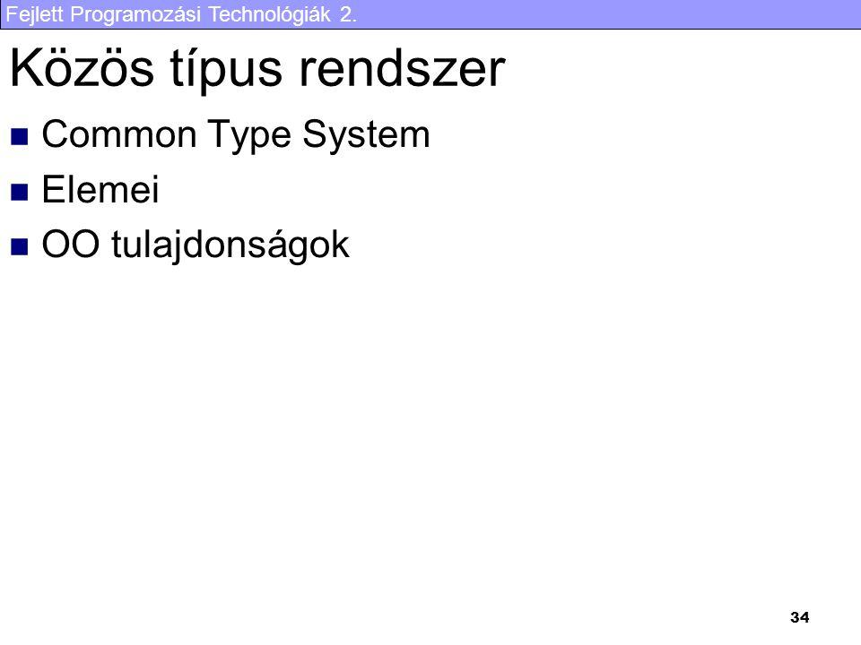 Fejlett Programozási Technológiák 2. 34 Közös típus rendszer Common Type System Elemei OO tulajdonságok