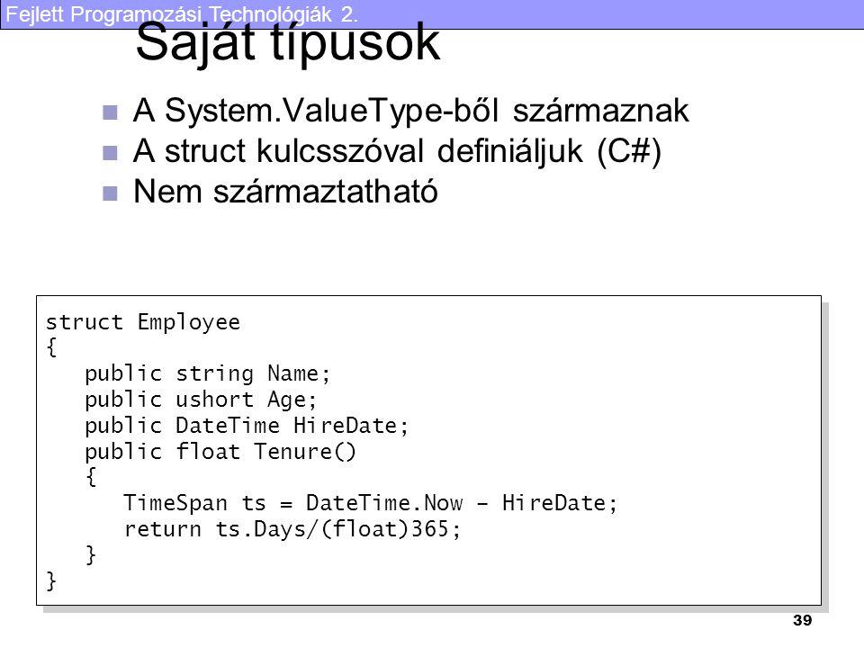 Fejlett Programozási Technológiák 2. 39 Saját típusok A System.ValueType-ből származnak A struct kulcsszóval definiáljuk (C#) Nem származtatható struc