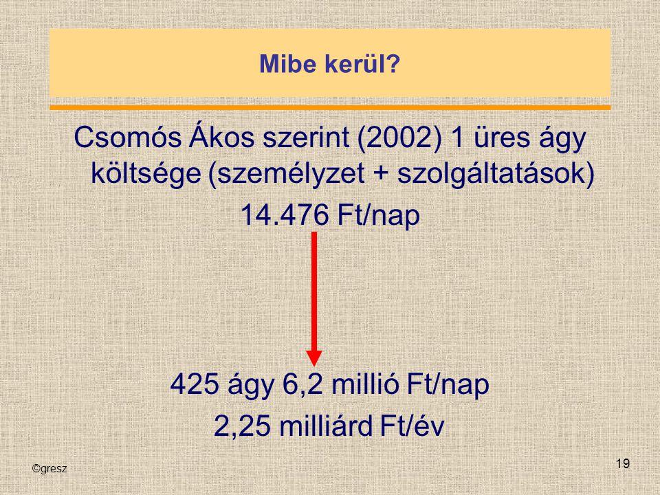 ©gresz 19 Mibe kerül? Csomós Ákos szerint (2002) 1 üres ágy költsége (személyzet + szolgáltatások) 14.476 Ft/nap 425 ágy 6,2 millió Ft/nap 2,25 milliá
