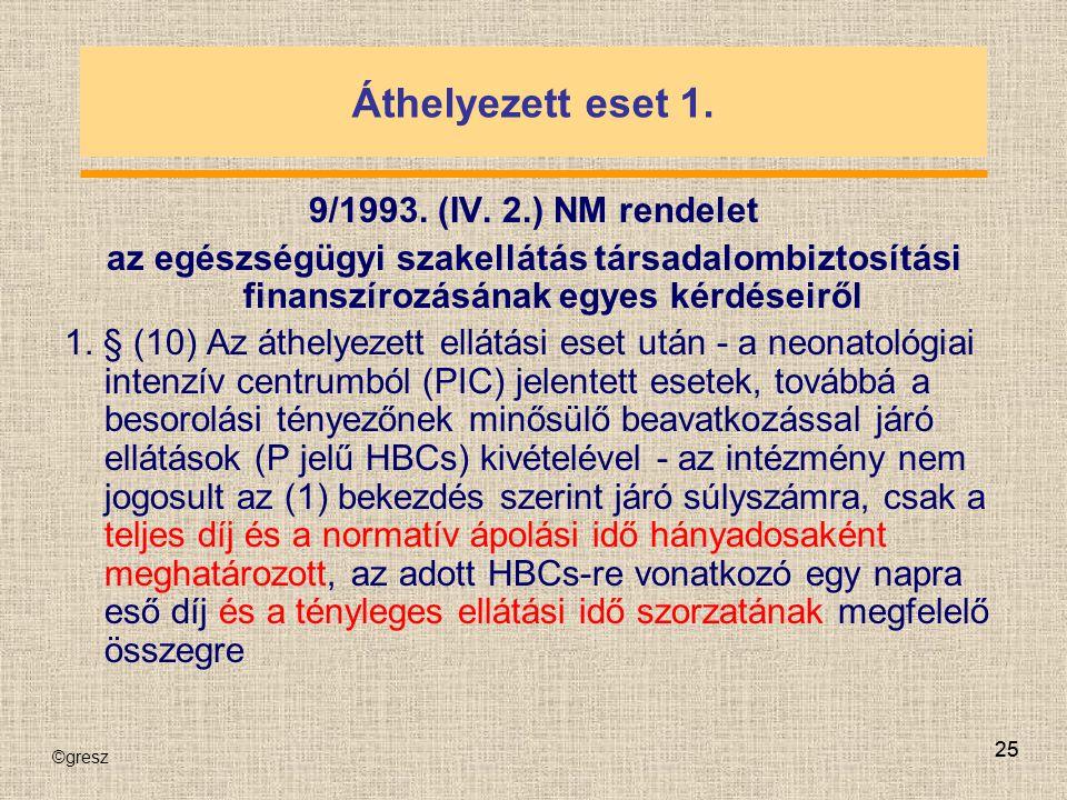 ©gresz 25 Áthelyezett eset 1. 9/1993. (IV. 2.) NM rendelet az egészségügyi szakellátás társadalombiztosítási finanszírozásának egyes kérdéseiről 1. §
