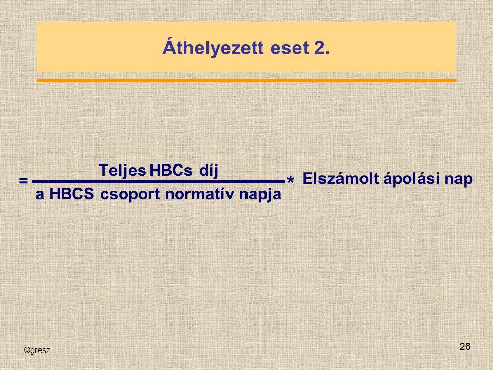 ©gresz 26 Áthelyezett eset 2. Teljes HBCs díj a HBCS csoport normatív napja = * Elszámolt ápolási nap