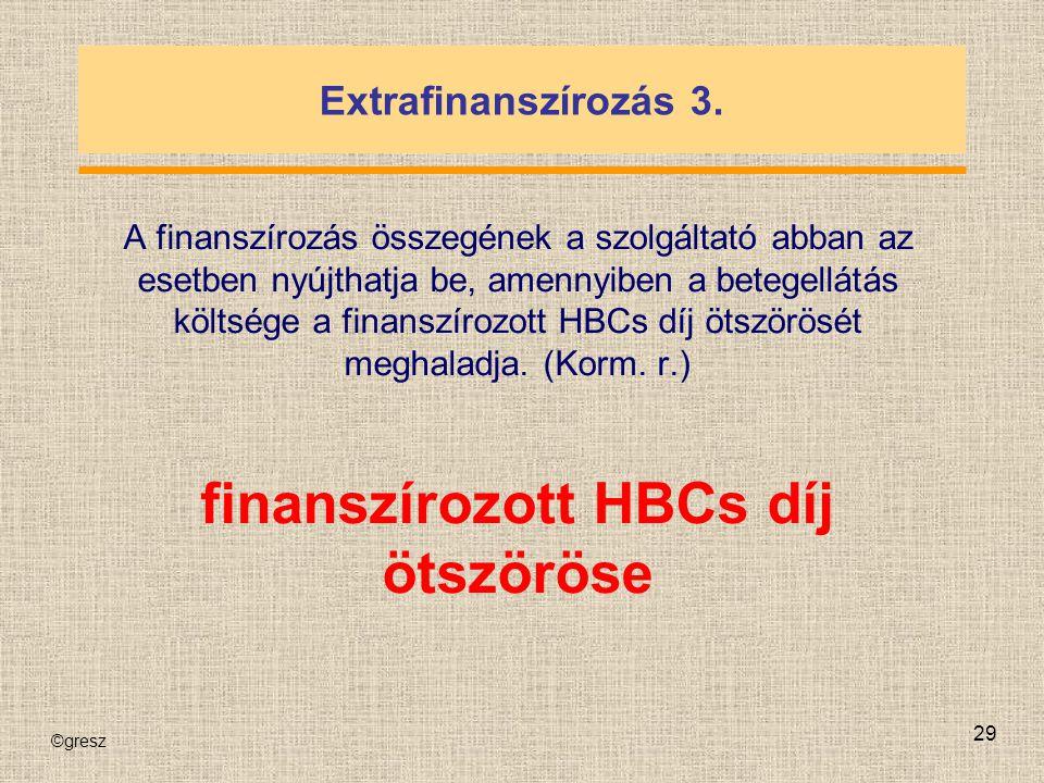 ©gresz 29 Extrafinanszírozás 3. A finanszírozás összegének a szolgáltató abban az esetben nyújthatja be, amennyiben a betegellátás költsége a finanszí