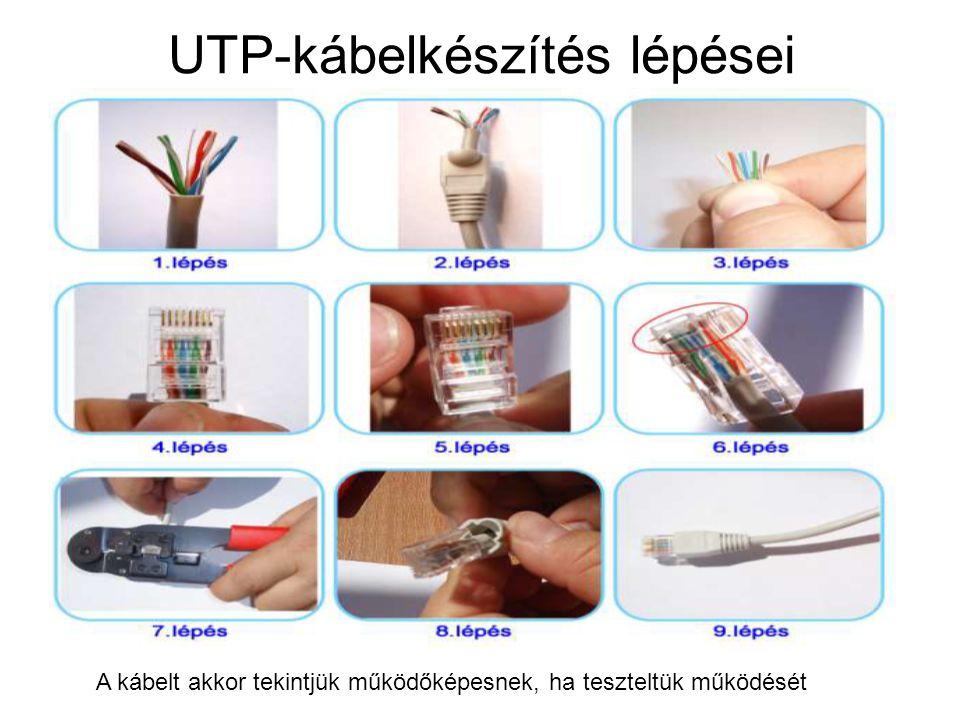 UTP-kábelkészítés lépései A kábelt akkor tekintjük működőképesnek, ha teszteltük működését