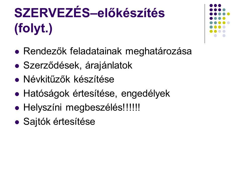 SZERVEZÉS–előkészítés (folyt.) Rendezők feladatainak meghatározása Szerződések, árajánlatok Névkitűzők készítése Hatóságok értesítése, engedélyek Helyszíni megbeszélés!!!!!.