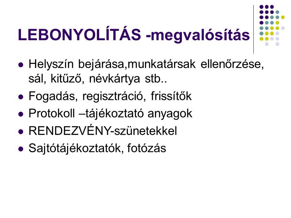 LEBONYOLÍTÁS -megvalósítás Helyszín bejárása,munkatársak ellenőrzése, sál, kitűző, névkártya stb..