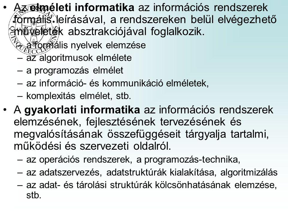 Az elméleti informatika az információs rendszerek formális leírásával, a rendszereken belül elvégezhető műveletek absztrakciójával foglalkozik. –a for